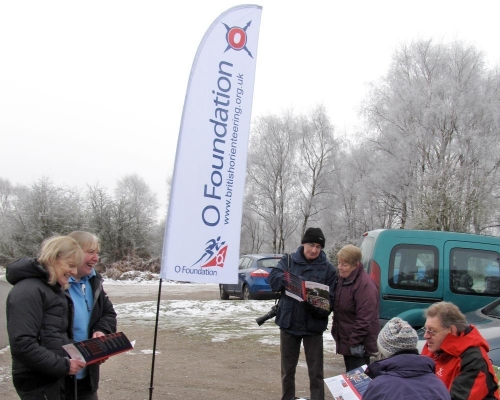 The Orienteering Foundation flag on display at an event